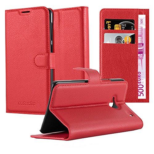 Cadorabo Hülle für HTC ONE M7 (1. Gen.) in Karmin ROT - Handyhülle mit Magnetverschluss, Standfunktion & Kartenfach - Hülle Cover Schutzhülle Etui Tasche Book Klapp Style