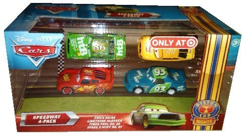 Disney / Pixar CARS Movie Exclusive 1:55 Die Cast Piston Cup Nights Speedway 4-Pack [Chick Hicks, Lightning McQueen, Fiber Fuel #56 & Spare O' Mint #93] by Mattel