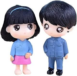 CHoppyWAVE FEIDA Garden Ornament Miniature 2Pcs/Set Boy Girl Cartoon Doll Miniature Ornaments Garden Dollhouse Decoration - Blue