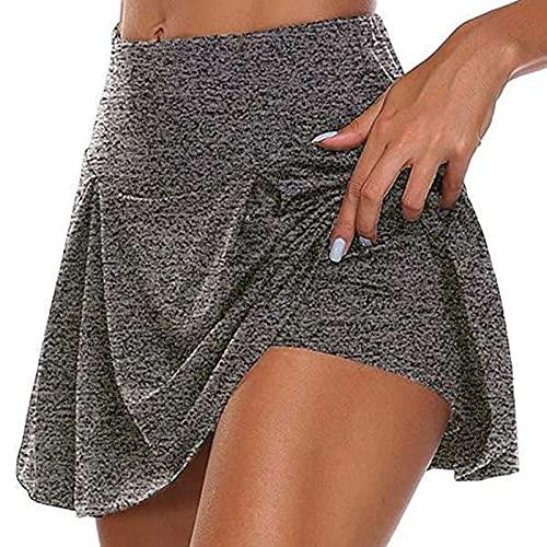Falda de Tenis de Color Sólido Pantalones Cortos Deportivo Mujer Culottes Cintura Alta Falda Pantalón Elástica y Transpirable Leggings Suave y Ligero Mujeres Mallas Casual Verano