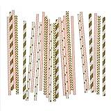 Salong Papierstrohhalme - Trinkhalme aus Papier in vielen Farben - Party-Strohhalme-Mix Rosa-Gold -...