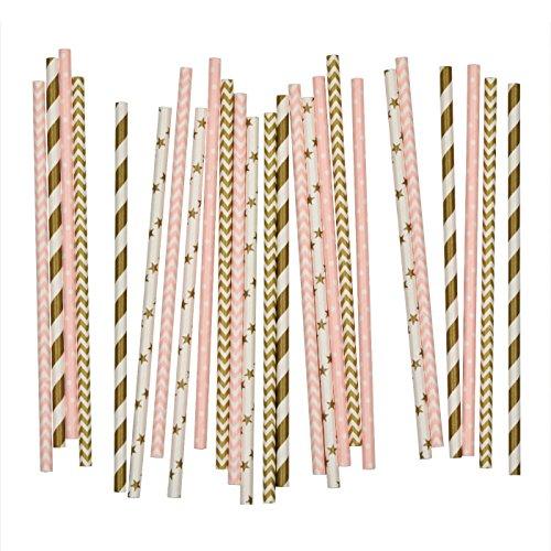 Salong Papierstrohhalme   Papiertrinkhalme   Party-Trinkhalme aus Papier in vielen Farben   Party-Strohhalme   Papier-Trinkhalme   Papptrinkhalme   Rosa-Gold   25 Stück