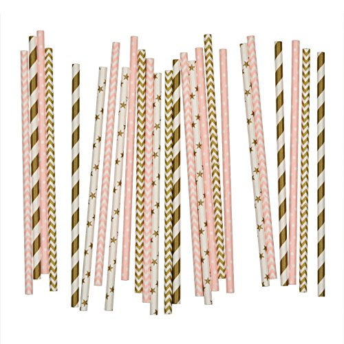 Salong Papierstrohhalme - Trinkhalme aus Papier in vielen Farben - Party-Strohhalme-Mix Rosa-Gold - 25 Stück