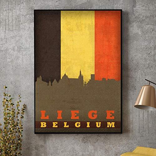 KDSMFA Jeugdkamer Decoratie Retro Antwerpen Brussel Luik Gent België Stadskyline op Vlag Poster Canvas Art Print Home Decor/60x80cm zonder Frame