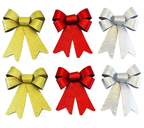 Happy Packs Christmas Glitter Metallic Shiny Burlap Bows in Red, Silver, and Gold Decor for Tree Ornament Wreath Wedding Party 5.5 x 8 in. - 6 Pack (Metallic Burlap Set)