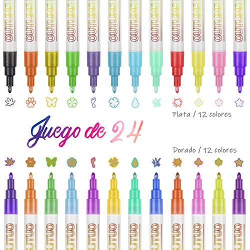Bolígrafos de Contorno de Doble Línea, BOIROS 24 Colores Rotuladores Purpurina Brillante para Dibujar, Rotuladores Magicos...