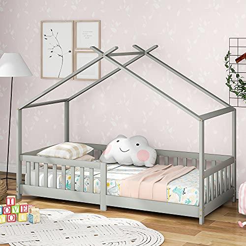 M MUNCASO Cama infantil de madera maciza con valla y somier, con protección contra caídas para habitaciones infantiles y juveniles, cama de aventura, cama de juegos gris (200 x 90 cm)