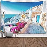 壁掛けデコレーション 寝室 壁掛けタペストリー サントリーニ ギリシャの景色 伝統的な家 小さな花 前景ライト タペストリー 壁掛け装飾150cm x 200cm
