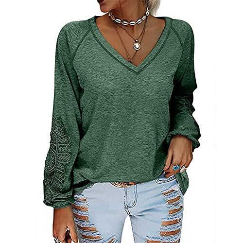 PRJN Blusas de Manga Larga para Mujer Blusa Informal Camisetas Sueltas Sudadera con túnica Jersey Tops con Cuello en V Sólido Camiseta Tipo túnica Casual Blusa Suelta de otoño Sudadera con Capucha