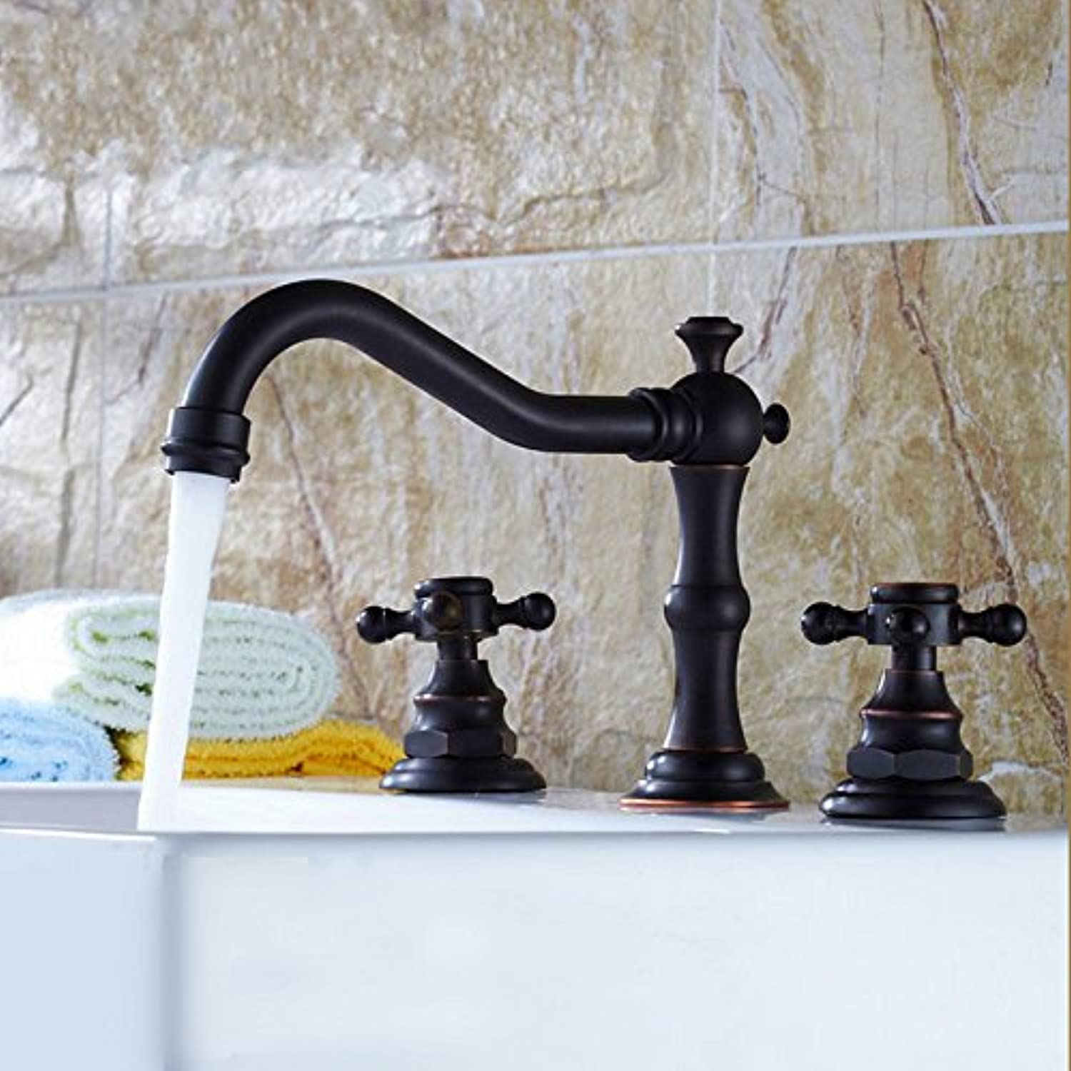 Jiedoasi Contemporary Brass Bathroom Basin Faucet Mixer Tap Oil Rubbed Bronze Two Handle Hole