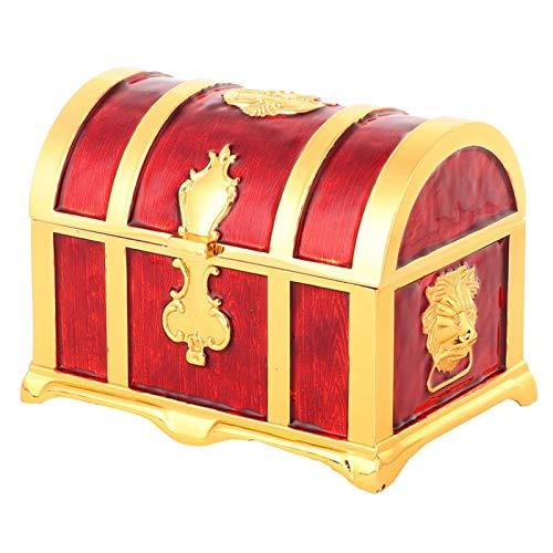 Caja organizadora de pendientes de estilo europeo medieval de estilo vintage sin polvo para escritorio, sala de estar(Red glue)