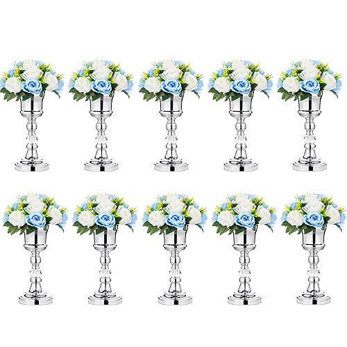 Nuptio 10 Stück Tabletop Metall Hochzeit Blume Trompete Vase mit Kristall, Tischdekoration Herzstück für Jubiläumsfeier Geburtstag Event Gang Dekoration, Silber