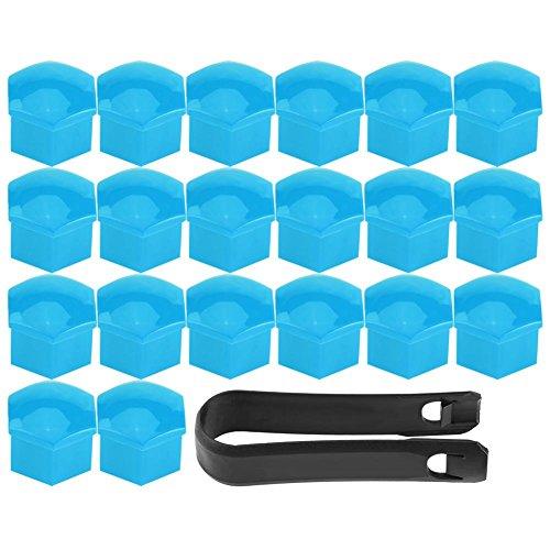 20pcs Écrou de Roue de Jante Coque Pneu Bouchon à Vis Capuchons Protecteur Hexagonal Universelle Moyeu de Pneu 17mm Couvre Ecrou Bouchon de Culasse Multi Couleur (Blue)