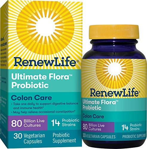 Renew Life Adult Probiotic - Ultimate Flora Colon Care Probiotic Supplement - Shelf Stable, Gluten, Dairy & Soy Free - 80 Billion CFU - 30 Vegetarian Capsules