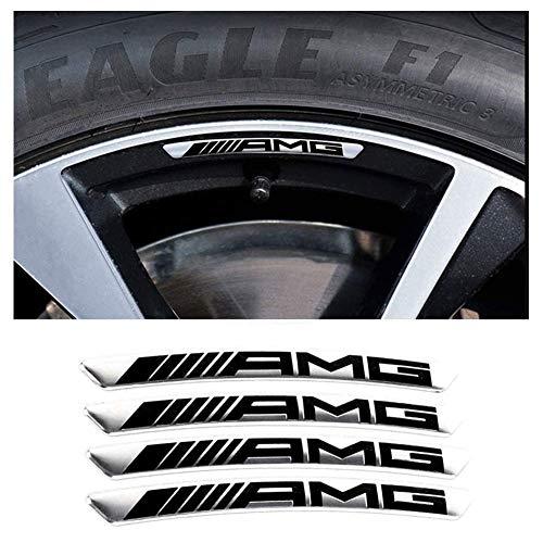 L&U 4pcs AMG Logo Rad mit Metallverzierung Fit für Mercedes Benz AMG A B S GLA CLA GLK ML SL CLS/E-Klasse