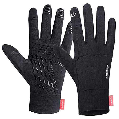 Lanyi Running Gloves Lightweight Cycling Sports Work Black Gloves Men Women Windproof Anti-Slip Touchscreen Compression Liner Gloves (M)