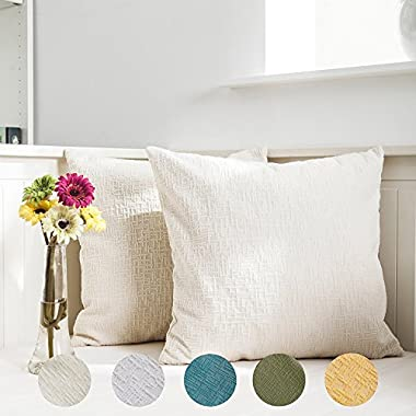 Kevin Textile Decor Soft Square Velvet Throw Cushion Cover With Invisible Zipper 45x45cm (18 Inch) Pillow Case Striped Decorative Pillow Cover for Couch, 2 Pieces,Cream