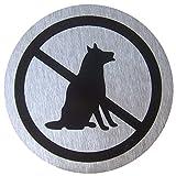 Cablematic BO10 Señal Prohibido Perros, Acero Inoxidable, Gris Plateado, 7x7x1 cm