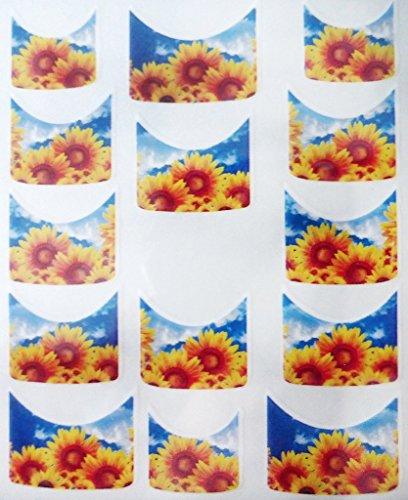 CM Nail Art manucure Stickers Ongles Scrapbooking: 14 décalcomanies Motifs tournesols Ciel Bleu