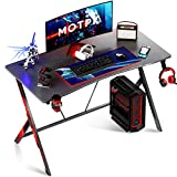 Motpk Gaming Desk 40 inch PC Computer Desk, Home Office Desk Workstation with Carbon Fiber, Gaming Table with Headphone Hook and Cup Holder