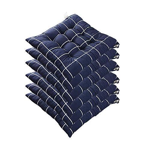 Cuscini per sedie per Sala da Pranzo Set di 6 Cuscini per sedie con Lacci Cuscini Antiscivolo Morbidi per Sedia da Ufficio Sedia da Cucina - Cuscini per sedie Quadrati Imbottiti in Cotone 40