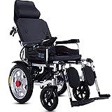 WXDP Autopropulsado ligero con reposacabezas, energía eléctrica, manipulación manual, pedal de respaldo ajustable motorizado, para personas mayores discapacitadas, viajes, motor plegable / 12AH negro