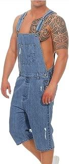 Denim Jumpsuit Men Overall Capri Pants Jeans Pocket Trousers Ropmer Pants