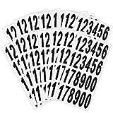 LAITER 15 Hojas Pegatinas de Números de 0 a 9 Autoadhesivos Papel Blanco con Números Negros a Prueba de Agua Aceite para Buzón Cubo de basura Mesa Contador Cajas Pared Ropa de Concursantes 24 pedazos