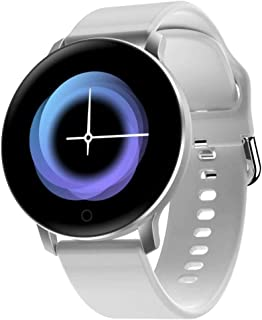 """Bouncefit Vector 2 Round Smartwatch (White) [iOS/Android Compatible, IP67 Water Resistant, White Silicone Strap, 1.3"""" OLED..."""