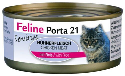 Feline Porta Katzenfutter Feline Porta 21 Sensitive Huhn plus Reis 156 g, 6er Pack (6 x 156 g)