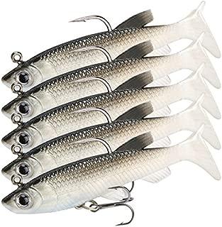 TSenTr 5pcs Soft Plastic Lures Vibe Bream Jig Heads Flathead Paddle Tail Mullet Fishing Bait