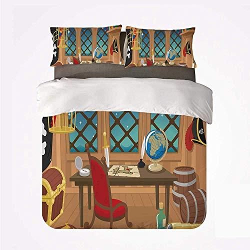 Cabina pirata de un pirata Capitán Parrot en jaula Cofre del tesoro de Jolly Roger Barriles de licor ,Juego de ropa de cama con funda nórdica de microfibra y 2 funda de almohada - 140 x 200 cm