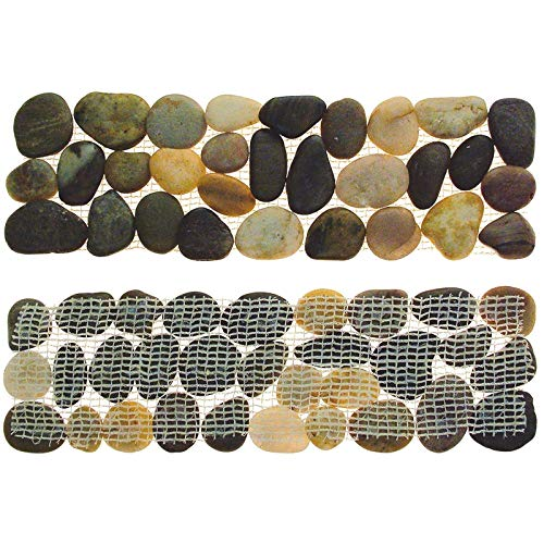 4 Pebbles Garden Plant Lawn Edging Edge Outdoor Border Strips - Mesh Backed Backing - No More Stones To Sweep! Bathroom Tile Border