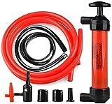 ANCLLO Bomba de aceite portátil bomba de sifón aceite combustible gasolina diesel mano agua sifón transferencia kit inflador rojo