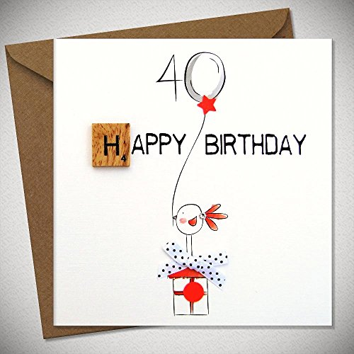 40th Birthday Bexyboo Scrabbley Neon Birthday Card Handmade Greeting Cards