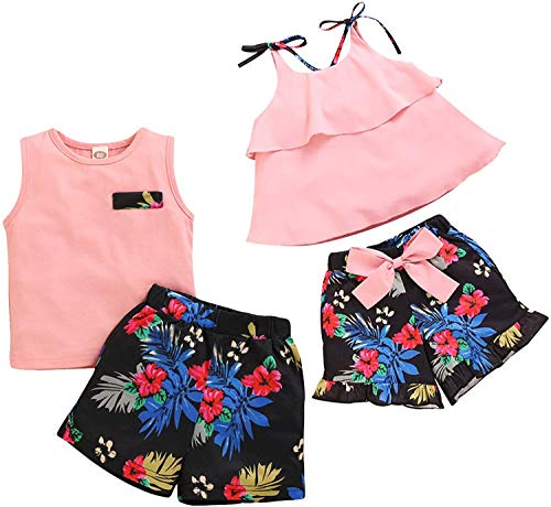 bilison Baby Boy Girl Brother and Sister Matching Outfits Pink Dress Top Vest and Floral Short Pants 2Pcs Summer Clothes Set (Sister, 4-5 Years)