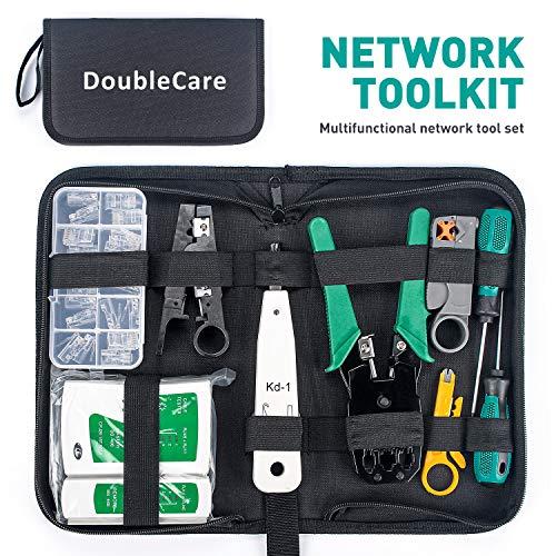 Doublecare Professionelles Netzwerkreparaturwerkzeug, RJ45-Crimpwerkzeug&Abisolierzange, LAN Kabel Netzwerkertester-Kit, das für die Reparatur von Netzwerkschränken Verwendet Wird