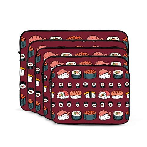 KUUDJIT Sushi 12/13/15/17 Inch Laptop Sleeve Bag for MacBook Air 13 15 MacBook Pro Portable Zipper Laptop Bag Tablet Bag,Diving Fabric,Waterproof