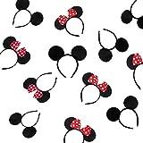 12 Piezas de Orejas de Minnie Mouse, Diadema Para Orejas de Ratón, Para Cumpleaños Baby Shower, Suministros Para Fiesta de Cumpleaños, Fiestas con Amigos, Fiestas de Disfraces (Rojo y Negro)