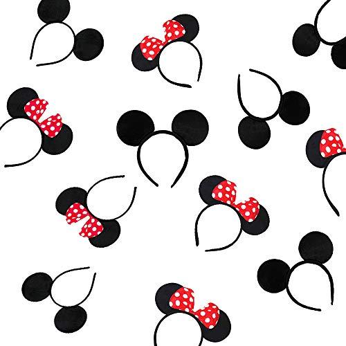 A 12 Stück Minnie Mickey Mouse Maus Haarreifen, Mouse Ears Headband, für Geburtstag Baby Shower, Birthday Party Supplies, Party mit Freunden, Kostümparty (Rot&Schwarz)