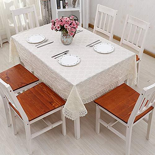 Cotone Tovaglia di Lino Pizzo Openwork Bordo Tinta Unita Nuova Cucina di Casa Decor Tavolo da Pranzo Top Copriletto da Matrimonio Runner,Beige-70x70(28x28in)
