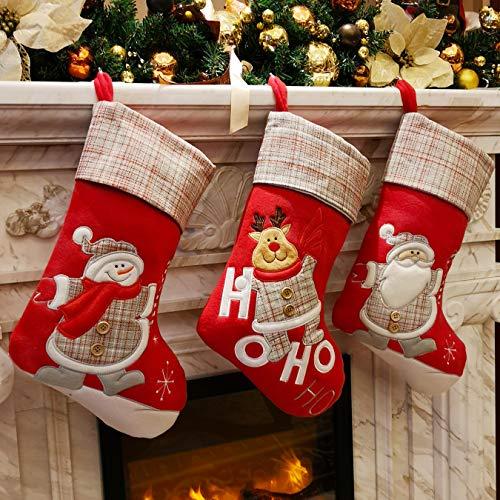 Wewill, set di 3 calze natalizie con personaggi di Babbo Natale, renna, pupazzo di neve 3D, in maglia di lino, targhetta, bordo in rilievo, 43 cm, Pile, Stile 6, 43 cm
