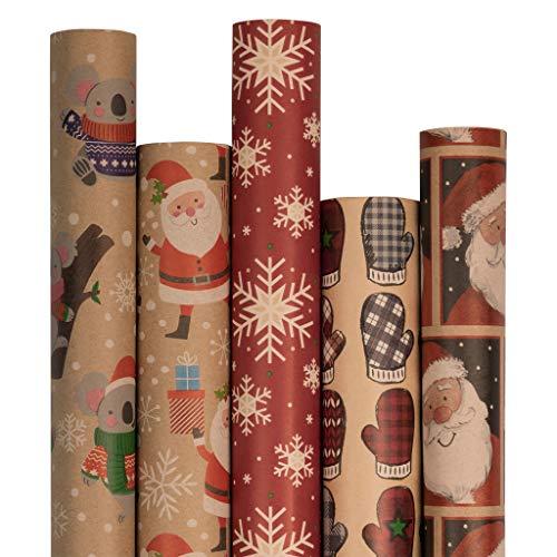 JAM PAPER Assorted Gift Wrap - Christmas Kraft Wrapping Paper - 125 Sq Ft Total - Kids Kraft Christmas Set - 5 Rolls/Pack