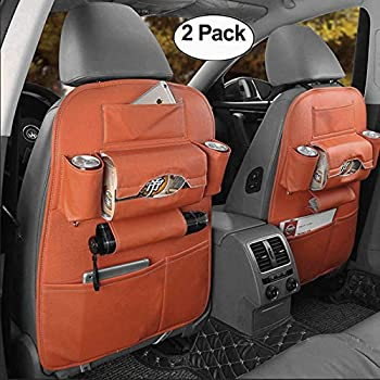 HCMAX 1 Pack Car Seat Back Organizer Pocket Backseat Protector Storage Kick Mat Ipad Mini Holder Iphone Cup Holder Umbrella Tissue Box Great Travel Accessory PU Leather Yellow