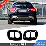 2pcs 304 Stainless Steel Car Exhaust Tail Pipe Cover Trim For GLA X156 2015-2019 (black)