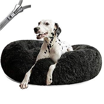 Puppy Love Panier Chien, Coussin Chien Anti Stress XXXL Dehoussable,Paniers Et Mobilier pour Chiens, Lit Moelleux Rond pour Chien, Lavable, ConfortableDark Gray-100cm