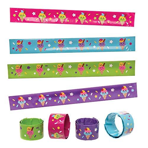 Pulseras con Cierre a Presión con Helados Baker Ross AT971 (paquete de 8) para bolsas de fiestas o juguetes para niños, surtidos