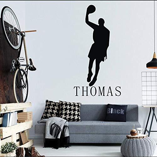 Zaosan Etiqueta de laPared Jugador de Baloncesto decoración para el hogar Nombre Personalizado niño habitación Vinilo Art Deco decoración42X69 cm