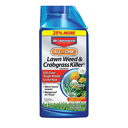 BioAdvanced 704140 All-in-One Lawn Weed and Crabgrass Killer Garden Herbicide, 32-Ounce, Midnight Blue