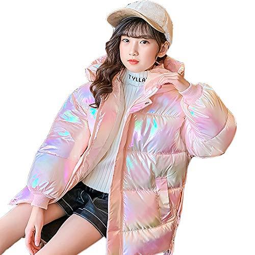 DUTUI Kinder Winterkleidung Reflektierende Bunte Daunenjacke, Jungen Und Mädchen Mit Flügeln Gepolsterte Warme Jacke,Rosa,3XL